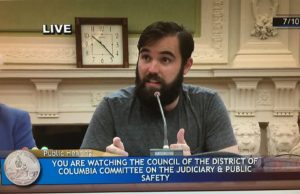 Communications Chair Zach Schalk Testifies before the DC Council for DC4D on 7.10.17