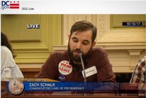 DC4D Communications Chair Zach Schalk delivers testimony on behalf of DC4D defending the UPLA at a public hearing on Tuesday, October 10 2017.