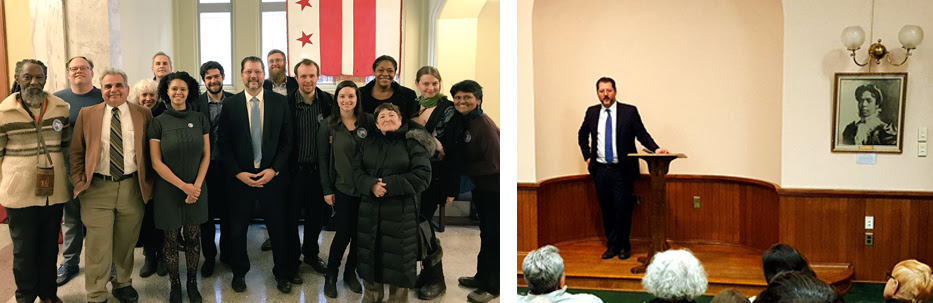 DC4D Members celebrate following the first vote for the Fair Elections Act of 207 (left); CM David Grosso speaks at DC4D January Meetup (right).
